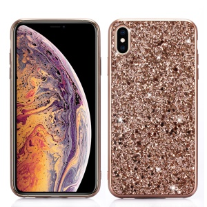 For iPhone XS Max 6.5 inch Glittery Sequins TPU Gel Back Cover - Rose Gold