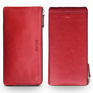 QIALINO Oil Wax Genuine Leather Wallet Pouch Cover for iPhone XS Max 6.5 inch / XR 6.1 inch / XS 5.8 inch - Red