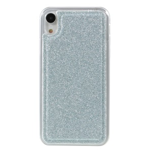 Flash Powder Leather Wallet Protective Case + Removable TPU Back Shell with Metal Chain for iPhone XR 6.1 inch - Blue