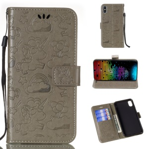 Imprint Unicorn and Cloud Leather Wallet Case for iPhone XS Max 6.5 inch - Grey
