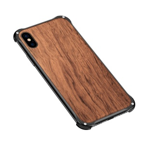 Natural Wooden Back Plate + Metal Frame [Textured] [Non-slip] Hard Case for iPhone XS Max 6.5 inch - Black / Rosewood
