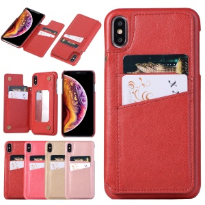 Card Holder PU Leather Coated PC Mobile Phone Case with Mirror for iPhone XS Max 6.5 inch - Red
