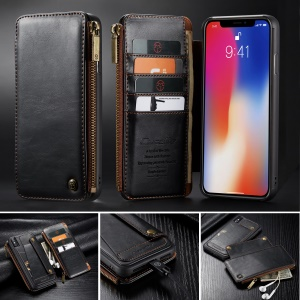 CASEME Detachable 2-in-1 Business Zipper Leather Wallet Cover for iPhone XS Max 6.5 inch - Black