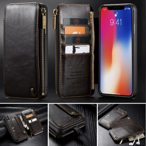 CASEME Detachable 2-in-1 Business Zipper Leather Wallet Shell for iPhone XS Max 6.5 inch - Coffee