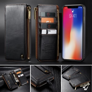 CASEME Detachable 2-in-1 Business Zipper Leather Wallet Case for iPhone XR 6.1 inch - Black