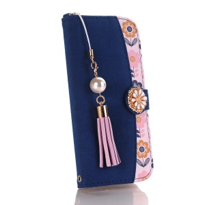 Flower Pattern Wallet Leather Stand Case for iPhone XR 6.1 inch - Dark Blue / Light Purple Tassels