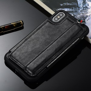 Multifunctional PU Leather Coated TPU Card Holder Mobile Case for iPhone XS Max 6.5 inch - Black