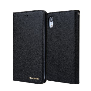 CMAI2 Silk Texture PU Leather Flip Case for iPhone XR 6.1 inch - Black