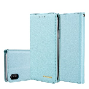 CMAI2 Silk Texture PU Leather Wallet Mobile Cover for iPhone XS Max 6.5 inch - Baby Blue