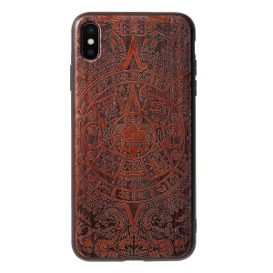 Carving Hard Wood TPU Hybrid Cover for iPhone XS Max 6.5 inch - Tribe Element