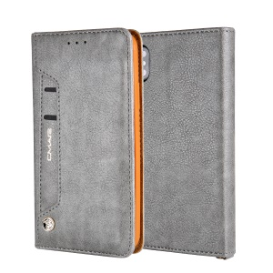CMAI2 Litchi Grain Auto-absorbed Leather Wallet Cover for iPhone XS Max 6.5 inch - Grey