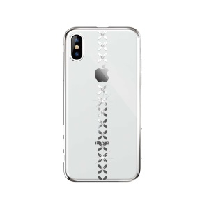 DEVIA Electroplating Rhinestine Decor PC Back Case for iPhone XS Max 6.5 inch - Silver