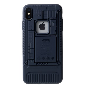 3D Mobile Mainboard Patten Soft TPU Cellphone Cover for iPhone XS/X - Blue