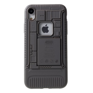 Soft TPU Phone Case 3D Mobile Mainboard Patten Shockproof Phone Shell for iPhone XR 6.1 inch - Grey