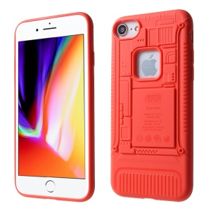 3D Mobile Mainboard Patten Soft TPU Case for iPhone 8/7 - Red