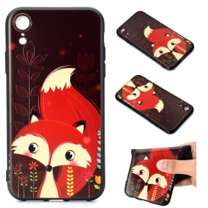Pattern Printing Embossed TPU Case for iPhone XR 6.1 inch - Fox