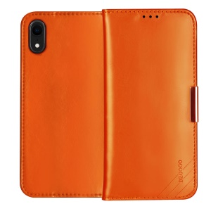 DZGOGO SS Genuine Leather Wallet Stand Shell for iPhone XR 6.1 inch - Orange