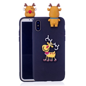 3D Christmas Animal Pattern TPU Case Shell for iPhone XS/X - Dark Blue Background with Deer