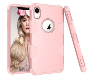 Phone Cover for iPhone XR 6.1 inch Anti-dust Shock Proof Silicone + PC Combo Case - Rose Gold