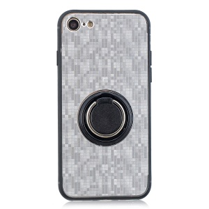 Finger Ring Kickstand Mosaic Pattern Hybrid Cover for iPhone 8/7/SE 2 (2020) - Silver