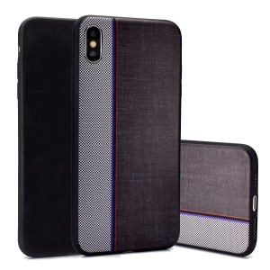 Jeans Cloth Splicing Texture TPU Back Phone Case for iPhone XS/X - Grey/Black
