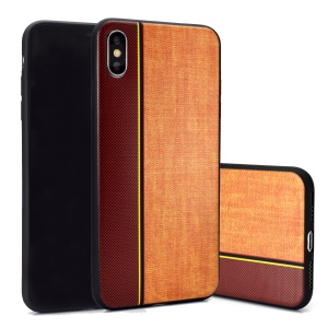 Jeans Cloth Splicing Texture TPU Back Casing for iPhone XS/X - Brown/Khaki