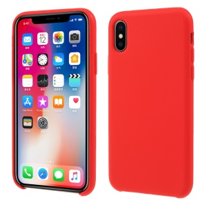 For iPhone XS / X 5.8 inch Solid Silicone Protection Case - Red