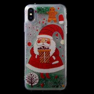 Christmas Series Glitter Powder Quicksand TPU + Acrylic Combo Case for iPhone XS / X 5.8 inch - Santa Claus with Present