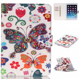 PU Leather Case Cover for iPad mini 3 2 1 - Colorful Butterflies and Flowers