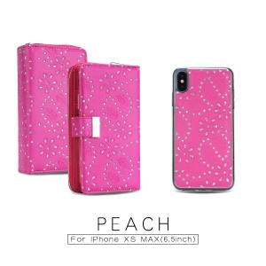 Glittery Leaves Flowers Leather Zippered Wallet Shell + Detachable Inner TPU Back Casing for iPhone XS Max 6.5 inch - Rose