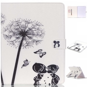 Leather Case with Card Slots for iPad 4/3/2 - Little Boy and Girl Dandelion Butterfly