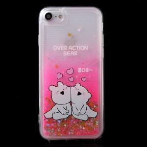 MERCURY GOOSPERY Cartoon Pattern Dynamic Sequins Quicksand Hybrid Case for iPhone 8 / 7 4.7 inch - Bear Couples