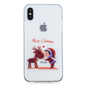 Christmas Pattern Printing TPU Jelly Case for iPhone XS / X 5.8 inch - Reindeer and Boy
