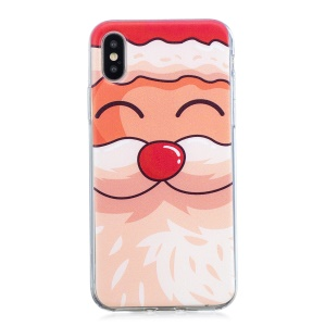 Christmas Pattern Printing TPU Jelly Cover for iPhone XS / X 5.8 inch - Lovely Santa Claus