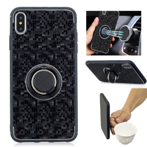 For iPhone XS Max 6.5 inch Mosaic Pattern Metal PC TPU Hybrid Phone Case with Finger Ring Kickstand - Black
