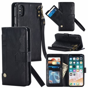 Magnetic Detachable Leather Wallet Mobile Case for iPhone XS / X 5.8 inch - Black
