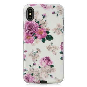 Embossment Patterned PC TPU Hybrid Case for iPhone XS Max 6.5 inch - Peony