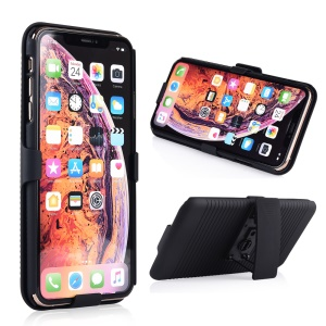Stripe Pattern PC Phone Case with Belt Clip Kickstand for iPhone XR 6.1 inch - Black