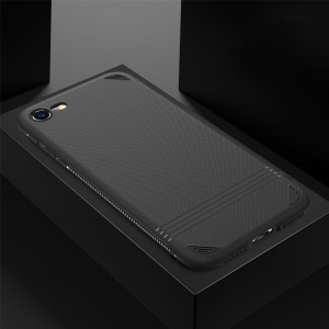 For iPhone 8/7 4.7 inch Cross Texture TPU Back Phone Shell - Black