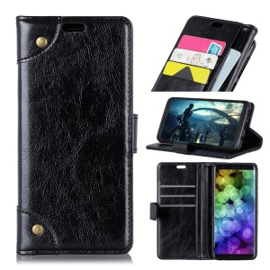 Nappa Texture Leather Wallet Case for iPhone XS/X 5.8 inch [Rivet Decor] - Black