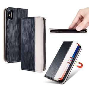Toothpick Texture Auto-absorbed Leather Card Holder Case for iPhone XS Max 6.5 inch - Black