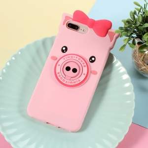 3D Cute Pig Pattern Silicone Back Case with Finger Ring Kickstand for iPhone 8 Plus / 7 Plus 5.5 inch