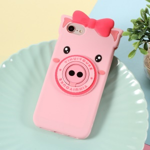 3D Cute Pig Pattern Silicone Back Case with Finger Ring Kickstand for iPhone 8 / 7 4.7 inch