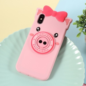 3D Cute Pig Pattern Silicone Back Case with Finger Ring Kickstand for iPhone XS/X 5.8 inch
