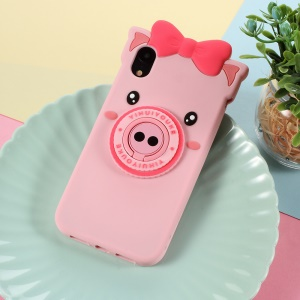 3D Cute Pig Pattern Silicone Back Case with Finger Ring Kickstand for iPhone XR 6.1 inch
