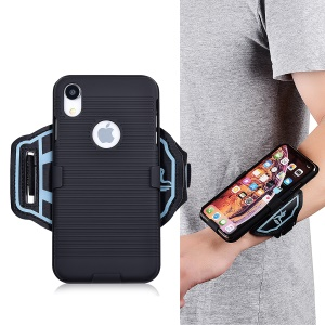For iPhone XR 6.1 inch Stripe Pattern PC Phone Casing with [Wrist Band]