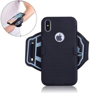 For iPhone XS 5.8 inch Stripe Pattern PC Mobile Case with [Wrist Band]