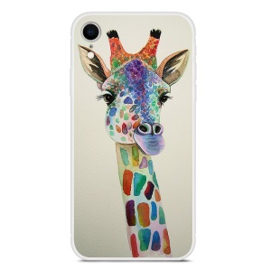 Pattern Printing Soft TPU Back Cover for iPhone XR 6.1 inch - Giraffe Painting