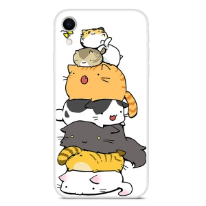 Pattern Printing Soft TPU Back Casing for iPhone XR 6.1 inch - Naughty Playing Cats