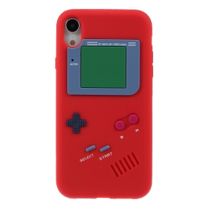 3D Game Boy Soft Silicone Phone Case for iPhone XR 6.1 inch - Red